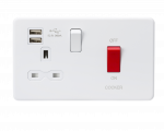 Knightsbridge 45A DP Switch & 13A Switched Socket with Dual USB Charger 2.4A - Matt White (SFR8333UMW)