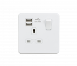 Knightsbridge Screwless 13A 1G switched socket with dual USB charger (2.1A) - matt white - SFR9901MW