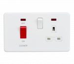 Knightsbridge Screwless 45A DP switch and 13A switched socket with neons - matt white - SFR8333NMW