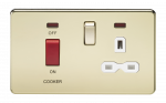 Knightsbridge Screwless 45A DP switch and 13A switched socket with neons - polished brass with white insert - SFR8333NPBW