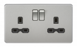 Knightsbridge Screwless 13A 2G DP switched socket - brushed chrome with black insert - SFR9000BC