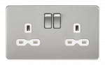 Knightsbridge Screwless 13A 2G DP switched socket - brushed chrome with white insert - SFR9000BCW