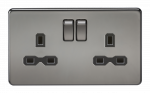 Knightsbridge Screwless 13A 2G DP switched socket - black nickel with black insert - (SFR9000BN)