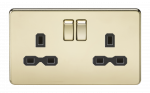 Knightsbridge Screwless 13A 2G DP switched socket - polished brass with black insert - SFR9000PB