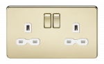 Knightsbridge Screwless 13A 2G DP switched socket - polished brass with white insert (SFR9000PBW)