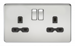 Knightsbridge Screwless 13A 2G DP switched socket - polished chrome with black insert - SFR9000PC