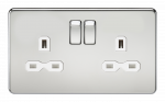 Knightsbridge Screwless 13A 2G DP switched socket - polished chrome with white insert - SFR9000PCW
