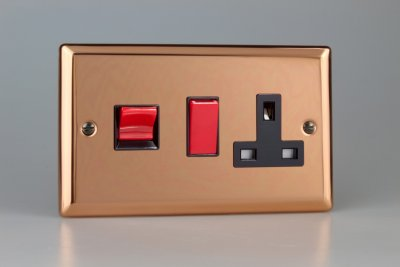 Varilight 45A Cooker Panel with 13A Double Pole Switched Socket Outlet Copper (XY45PB.CU)