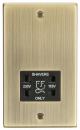 Knightsbridge 115-230V Dual Voltage Shaver Socket with Black Insert - Square Edge Antique Brass - (CS89AB)